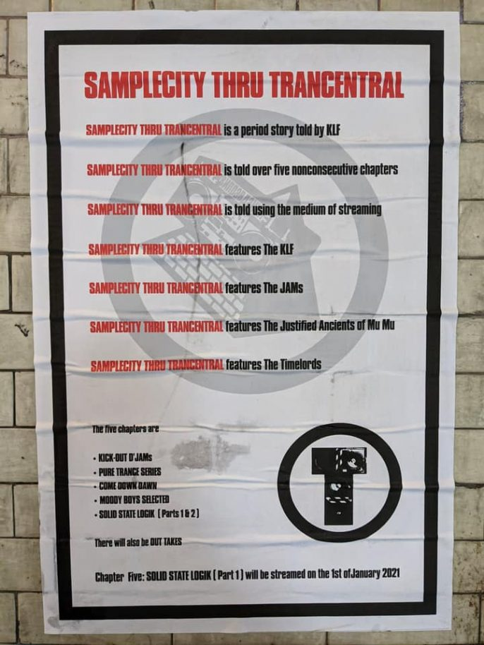 """Black/red on white poster detailing the release and planned chapters of The KLF's """"Samplecity Thru Trancentral"""" series"""