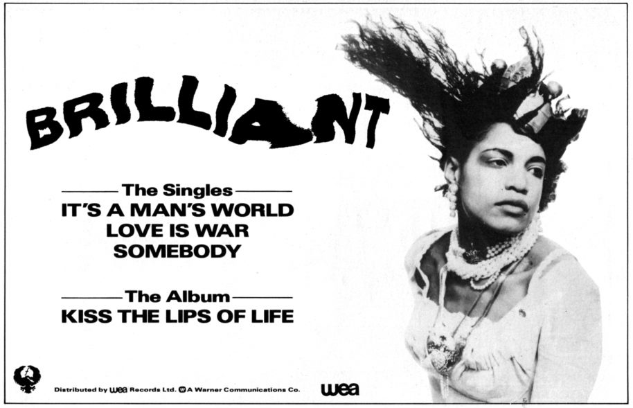 "Advert for ""Kiss The Lips Of Life"" by Brilliant; black band logo followed by the names of their singles as well as the album title, right next to a promo shot of band member and vocalist June Montana looking away from the camera"