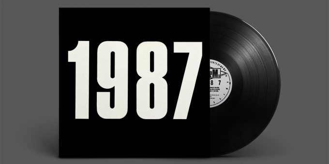 "Cover of ""1987"" by The JAMs; large white numbers on plain black background"