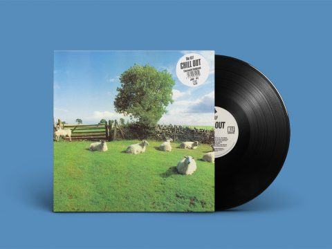 "Cover of ""Chill Out"" by The KLF; sheep in countryside; featuring white sticker with album name and ""file under ambient"" notice"