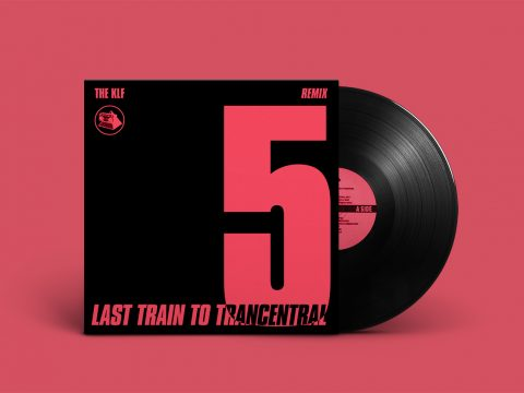 "Mockup of ""Last Train To Trancentral (Pure Trance Remixes)"" by The KLF; black sleeve with large pink ""5"" on the right, release title on the bottom, partly intersecting with the number above"
