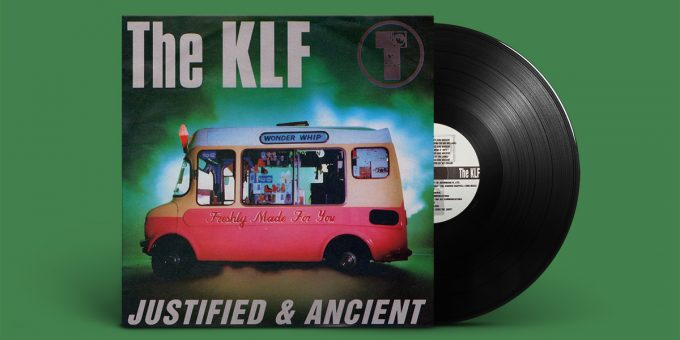 "Green/brown sleeve with ""The KLF"" in the upper left, T-speaker logo in the upper right and the single's title ""Justified And Ancient"" at the bottom, all arranged around a pink/white ice cream with ""Freshly Made For You"" written on its side."