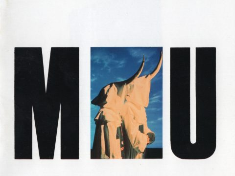 "Black on white CD front cover of ""MU"" by The KLF, featuring image of Bill and Jimmy wearing white robes and horns"