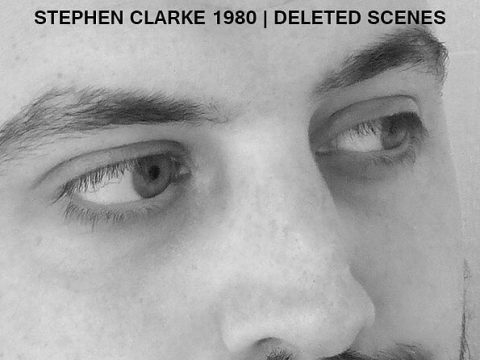 "Greyscale cover of ""Deleted Scenes"" by Stephen Clarke 1980 with the author's face on the cover"