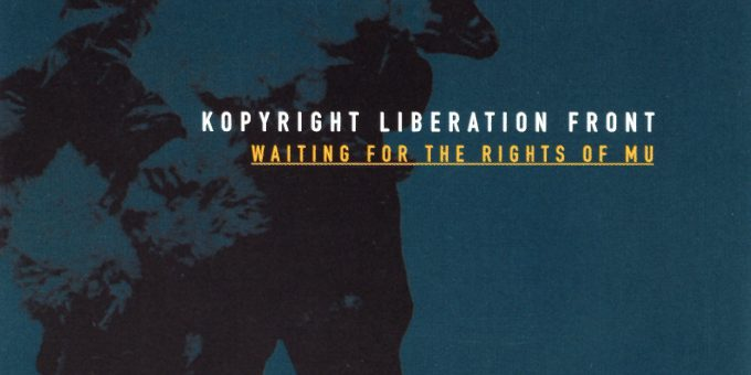 """Waiting For The Rights Of Mu""; blue cover with black silhouette of The KLF's ""Why Sheep"" pose"