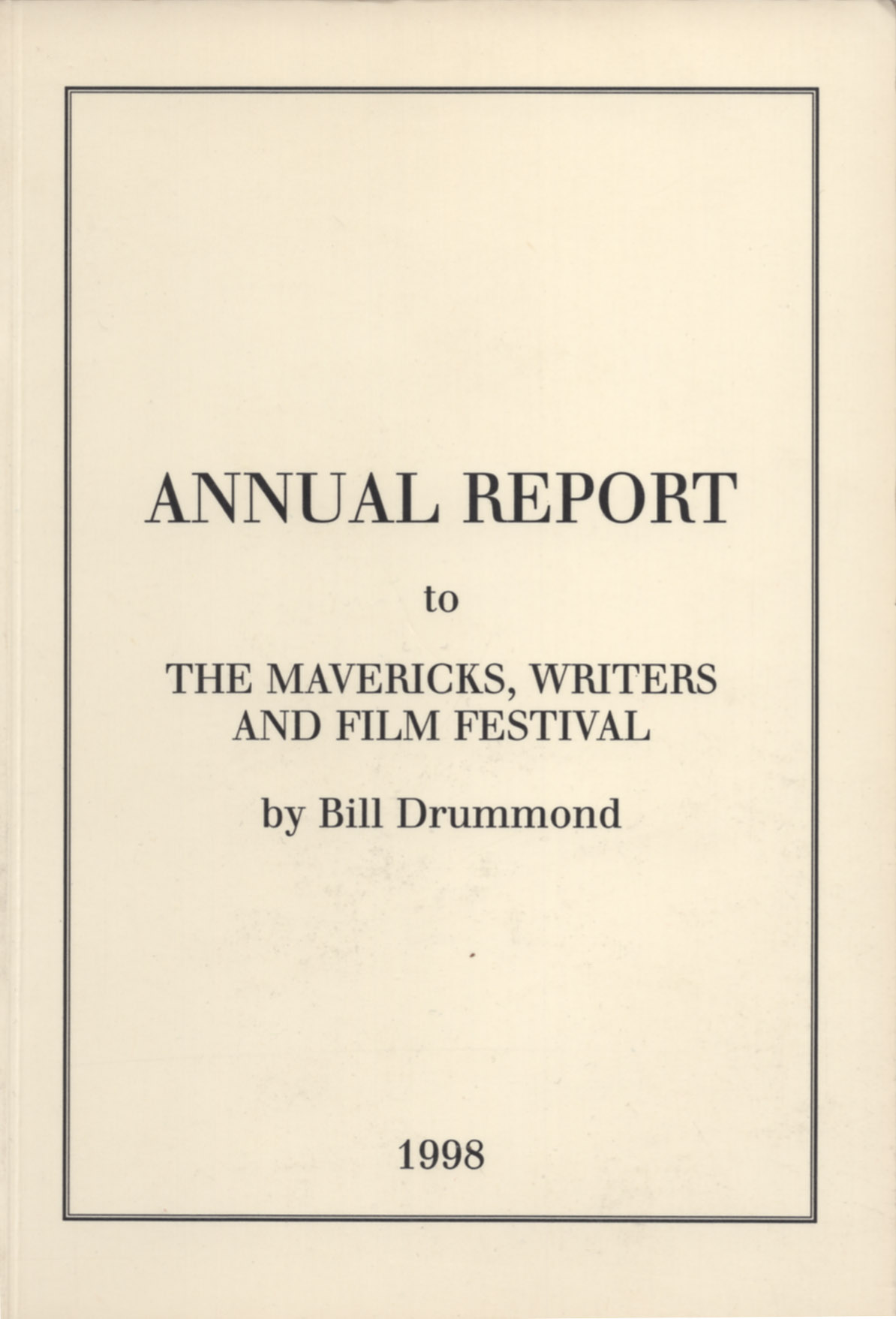 "Cover of Bill Drummond's ""Annual Report"""