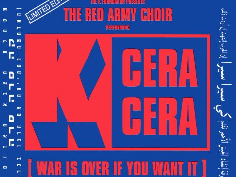 "Red on blue CD front cover of ""K Cera Cera"" by the K Foundation"